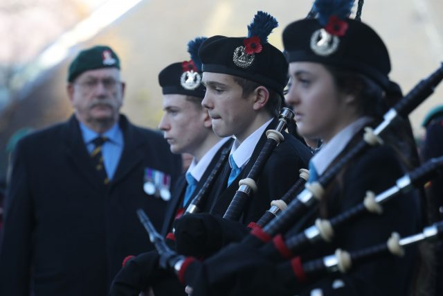 Lochaber Schools Pipe Band, as veterans attend a Remembrance Sunday Service in Fort William