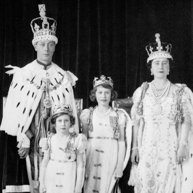 King George VI and Queen Elizabeth with their daughters Princess Elizabeth and Princess Margaret after the Coronation in May 1937