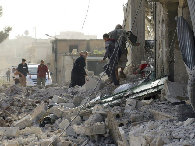 Damage following air strikes in Atareb, Syria