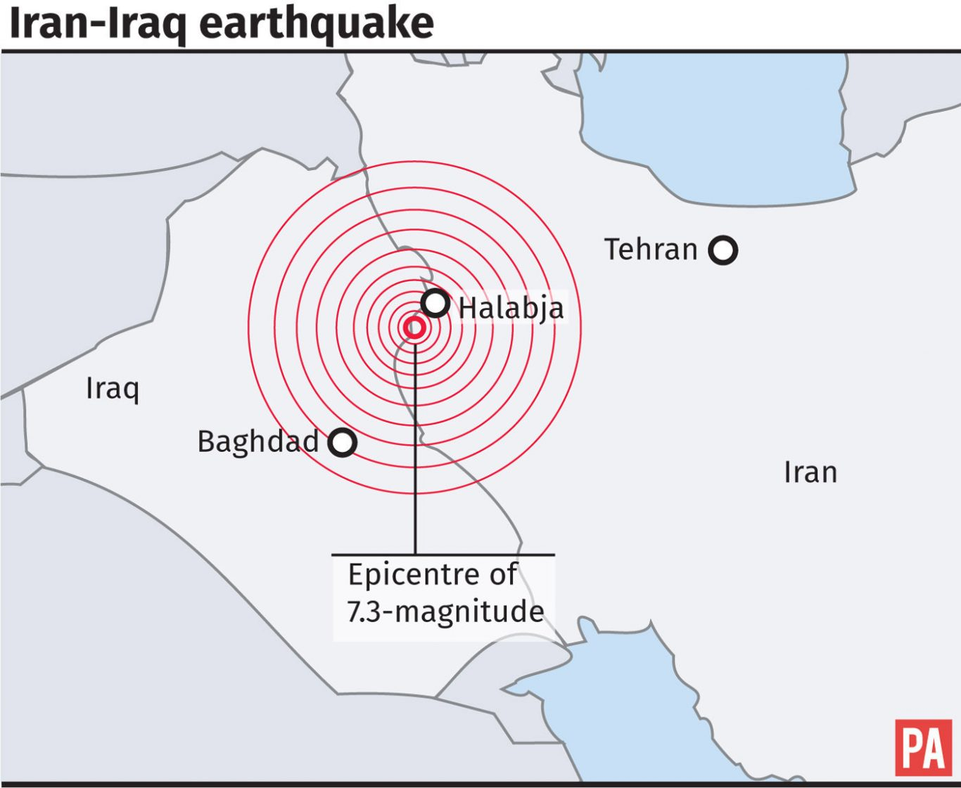 Graphic locates epicentre of 7.3-magnitude earthquake on the border of Iran and Iraq