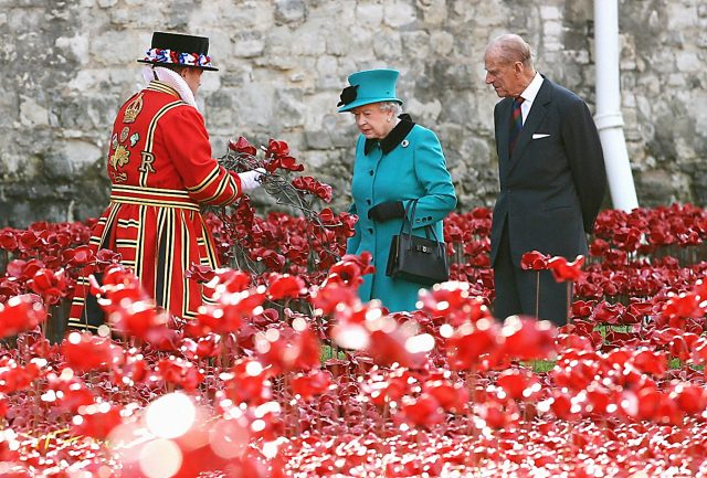During a visit to the Tower of London's Blood Swept Lands and Seas of Red installation (PA)