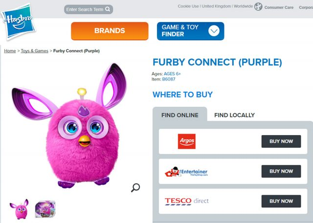 Screengrab taken from hasbro.com of the Furby Connect toy (PA)