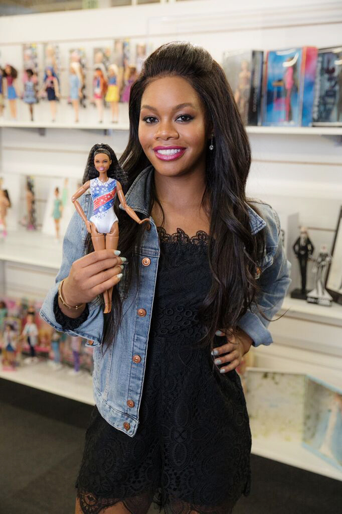 Gaby Douglas with her Shero Barbie