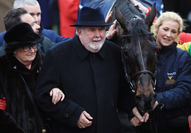 Alan Potts and his late wife, Ann, celebrate with groom Ashley Hussey (right) after Sizing John won the Cheltenham Gold Cup in March