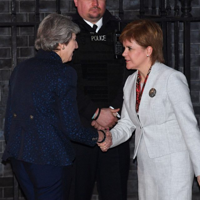 Prime Minister Theresa May greets Scottish First Minister Nicola Sturgeon at No 10