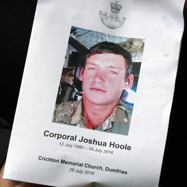 The Order of Service for the funeral of Corporal Josh Hoole