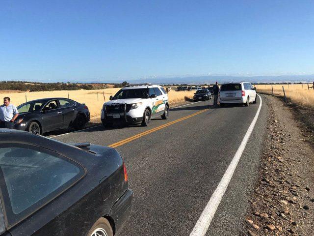 Traffic backs up outside Rancho Tehama in California