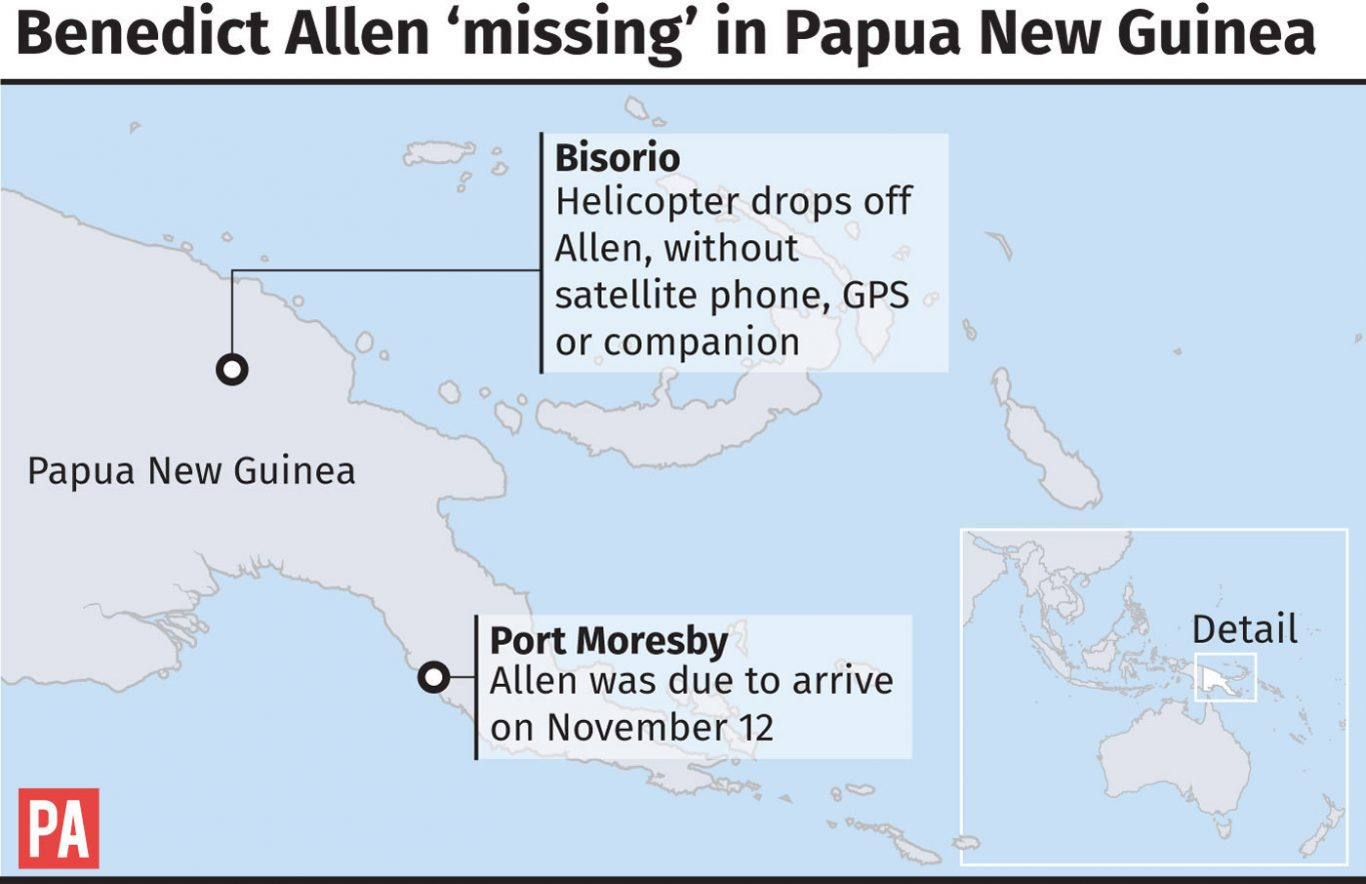 British explorer missing in Papua New Guinea