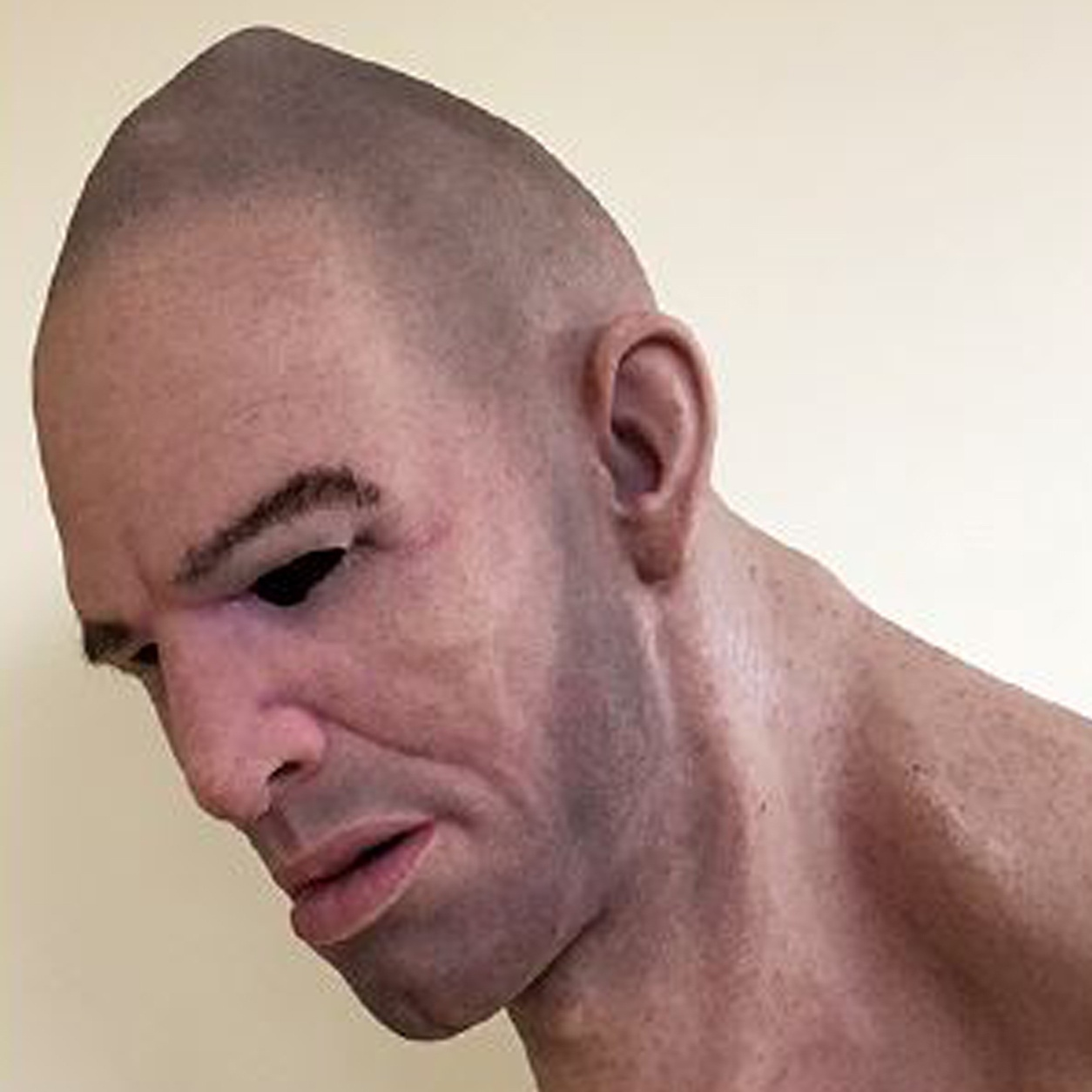 One of the hyper-realistic masks