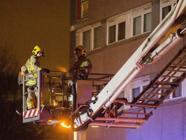 Firefighters attend the blaze (Liam McBurney/PA)