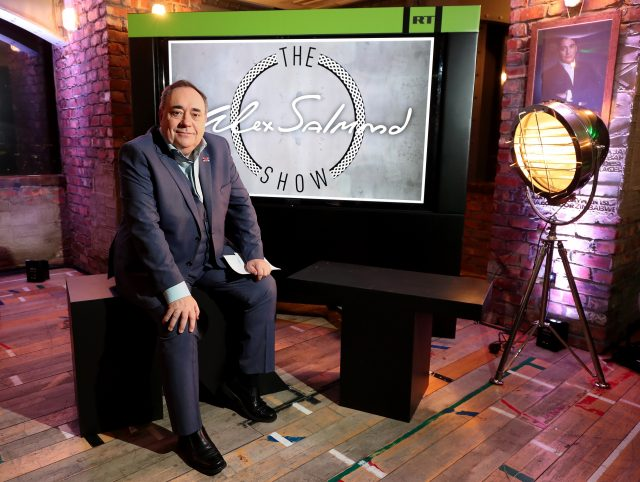Alex Salmond on the set of his TV show