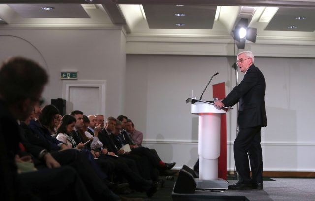 Shadow chancellor John McDonnell delivers his pre-Budget speech