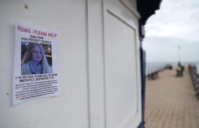A missing person notice for Gaia Pope in Swanage