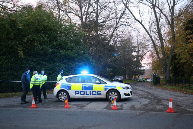 Police at the scene near Waddesdon in Buckinghamshire