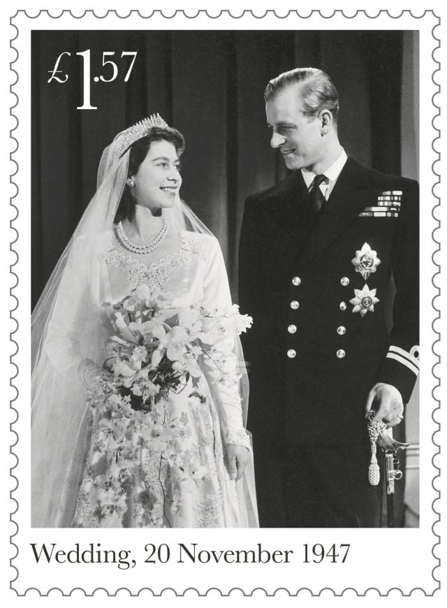 Six stamps commemorating the 70th wedding anniversary of the Queen and the Duke of Edinburgh