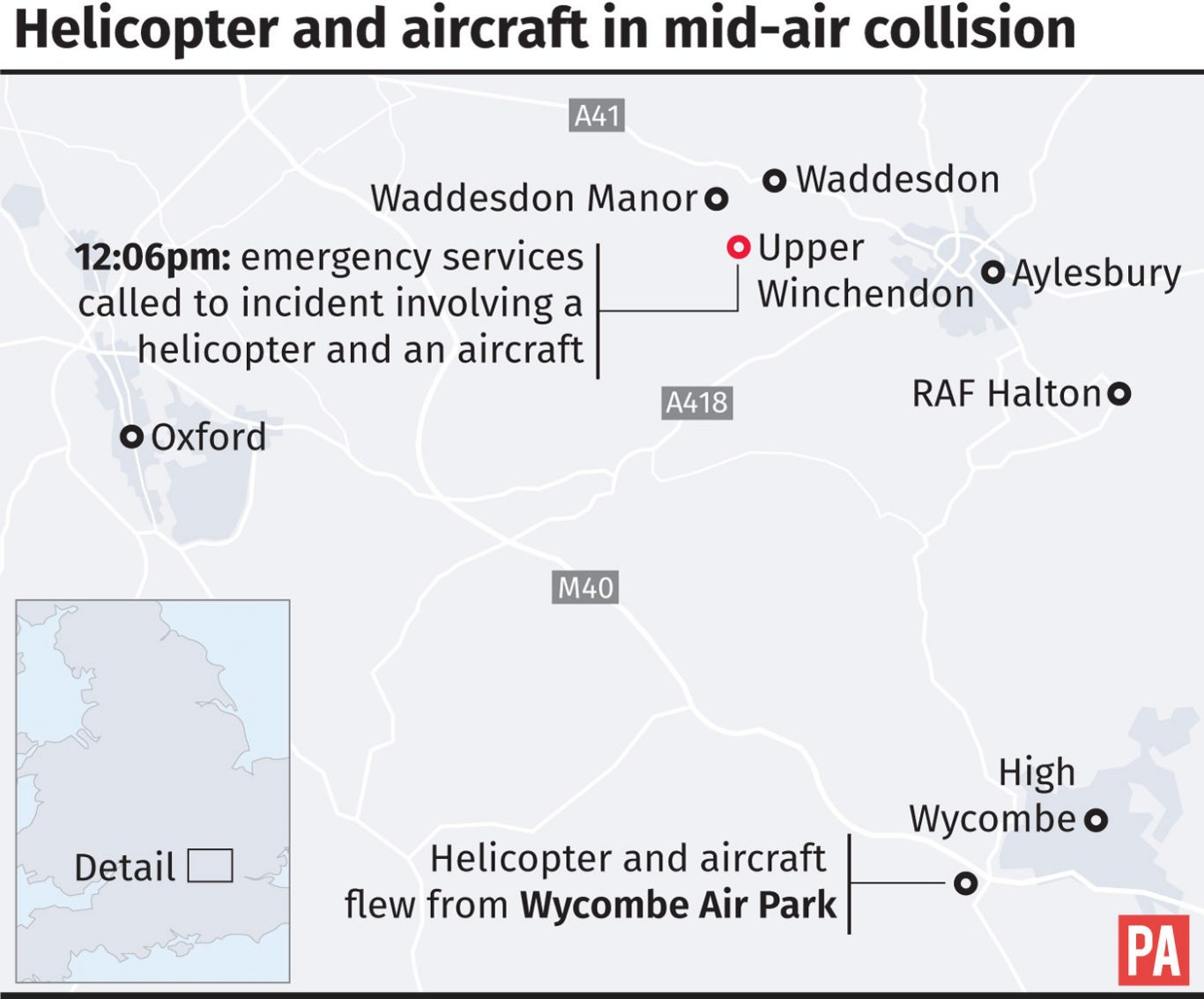 Helicopter and plane crash mid-air in Waddesdon