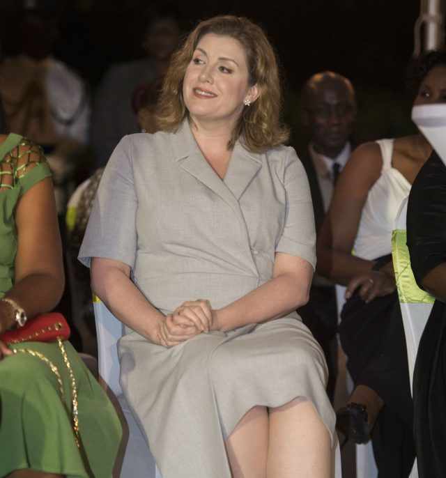 Penny Mordaunt during the Prince of Wales' visit to a reception at Government House in Antigua