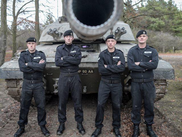 A Challenger II Main Battle Tank crew at Royal Tank Regiment HQ in Tidworth