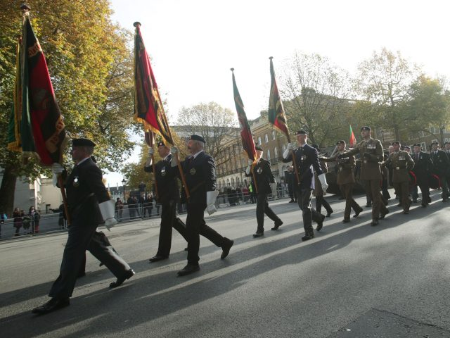 Veterans of the Royal Tank Regiment Association during a parade at the Cenotaph