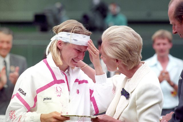 The Duchess of Kent comforts Jana Novotna at Wimbledon in 1993