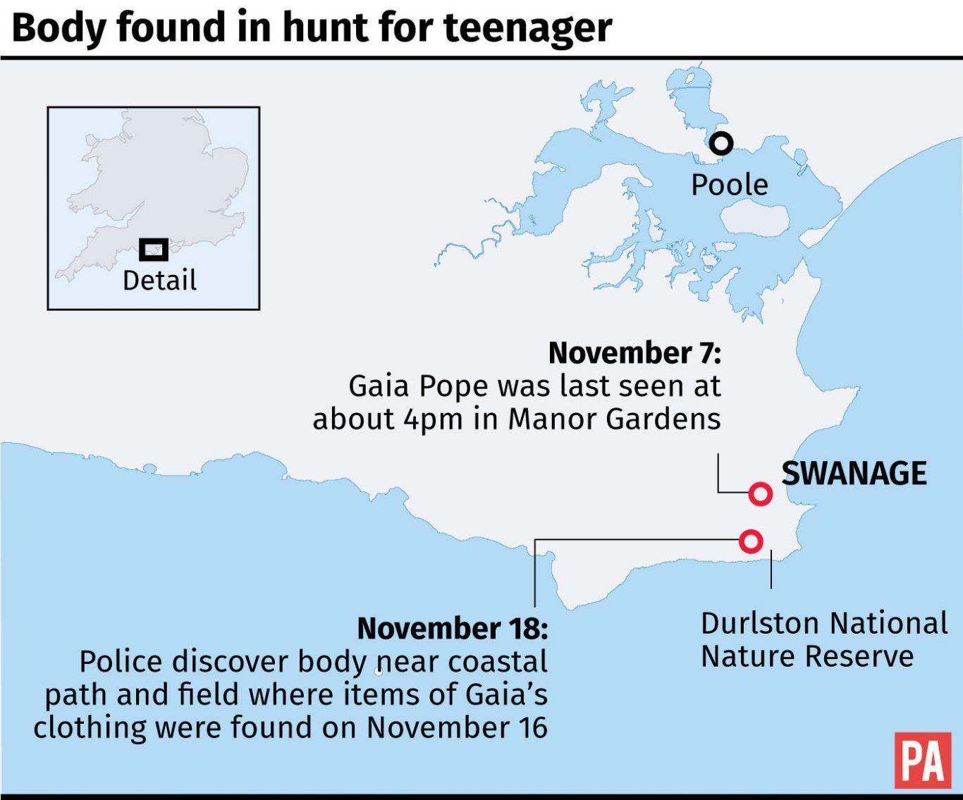 Map locates where body was found