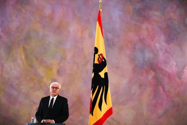 German President Frank-Walter Steinmeier briefs the media after a meeting with Angela Merkel