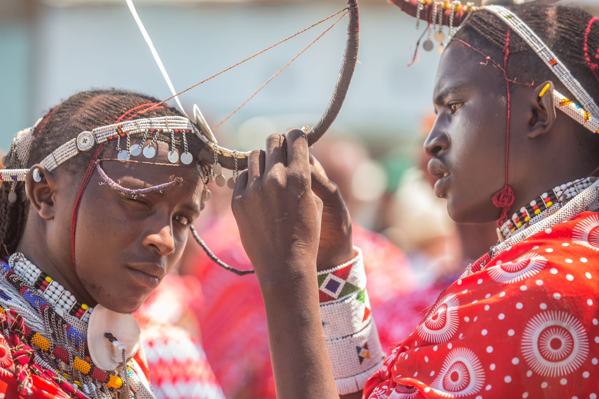 Maasai morans preparing for a SAFE performance (Paul Goldstein/PA)