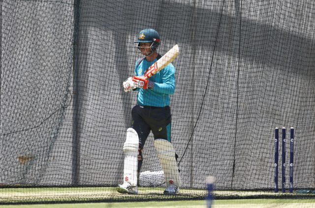David Warner during a nets session