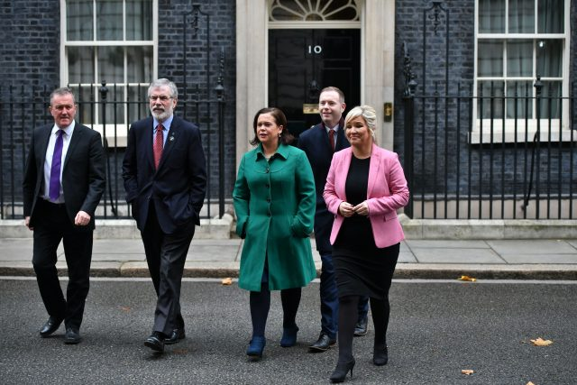 Sinn Fein President Gerry Adams (second left) with (left to right) Conor Murphy, Deputy leader Mary Lou McDonald, Chris Hazzard and Northern Ireland leader Michelle O'Neill