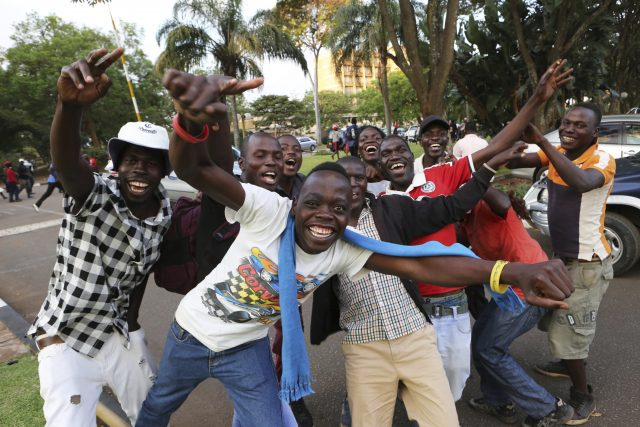 Zimbabweans celebrate in the streets of Harare