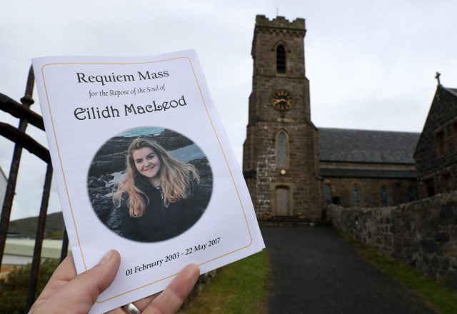 An order of service at the funeral of Manchester bomb victim Eilidh MacLeod