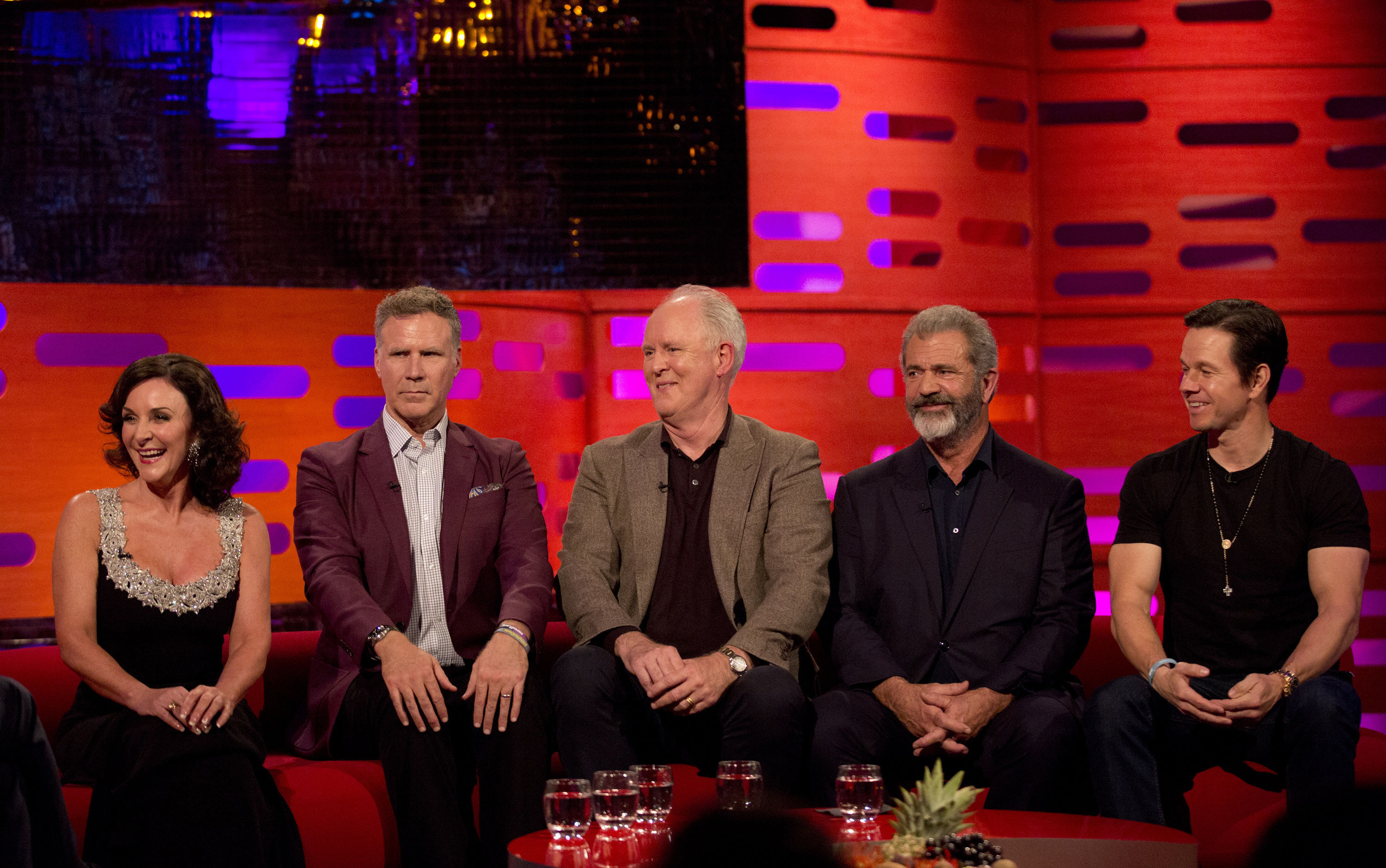 Shirley Ballas, Will Ferrell, John Lithgow, Mel Gibson, and Mark Wahlberg while filming The Graham Norton Show (Isabel Infantes/PA)