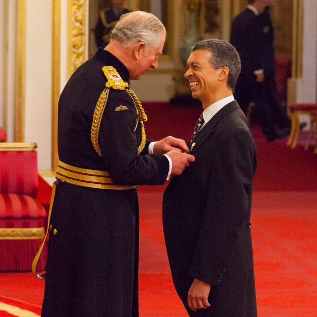 Roderick Williams receives his OBE from the Prince