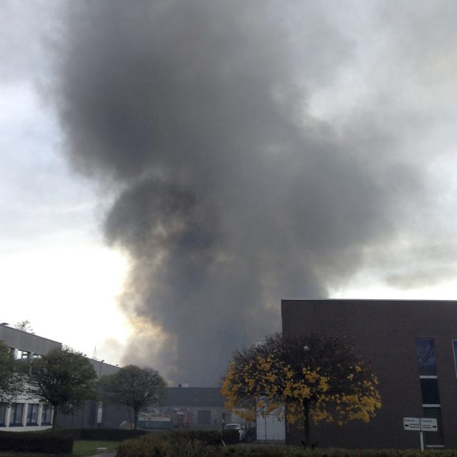 Smoke rises from the Milcamps waffle factory