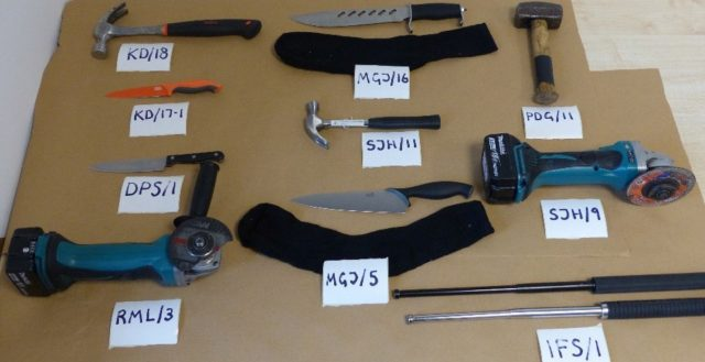 Tools and weapons used by the moped gang