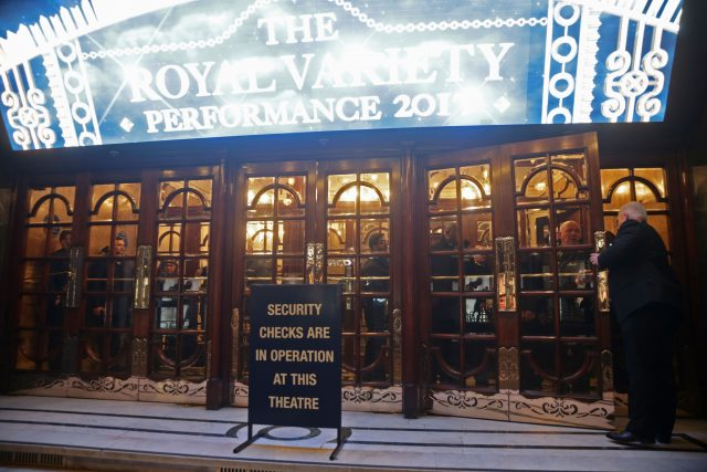 People in 'lockdown' in the London Palladium theatre (Yui Mok/PA)
