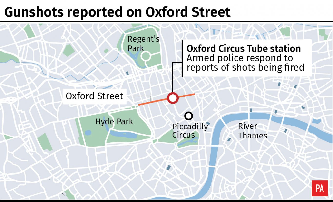 Shots fired reported at Oxford Circus tube station in London