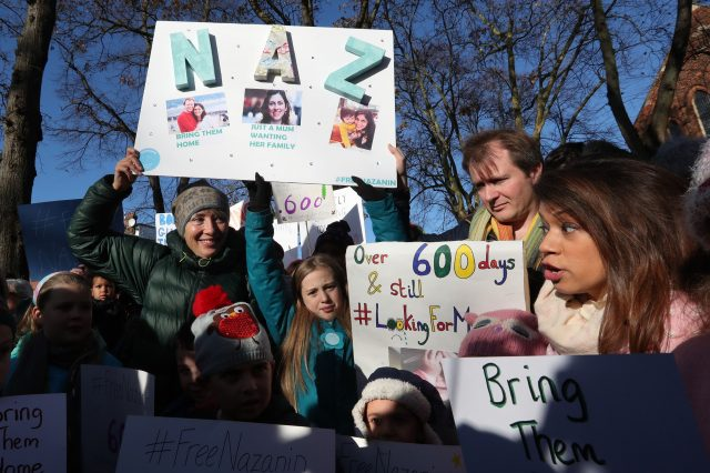 Richard Ratcliffe, the husband of Nazanin Zaghari Ratcliffe who is detained in Iran, is joined by supporters including actress Emma Thompson (left) and Tulip Siddiq MP (right) in Hampstead, north London before setting out on a march to deliver a petition calling for her release from prison