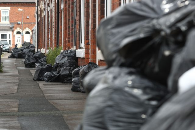 Rubbish bags piled high in Tarry Road, Birmingham