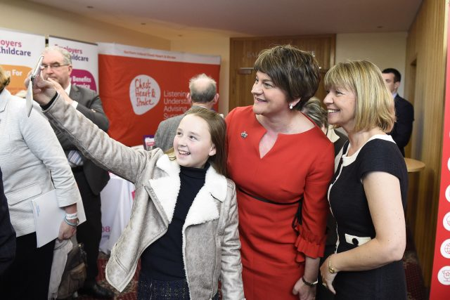 DUP leader Arlene Foster has her picture taken with supporters (Michael Cooper/PA)
