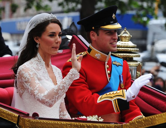 The Duke and Duchess of Cambridge journey by carriage to Buckingham Palace following their marriage