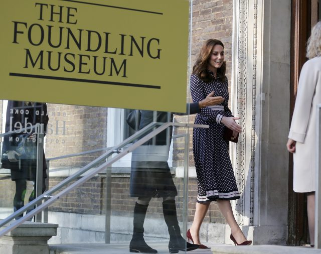 The Duchess of Cambridge arrives at the Foundling Museum. (Frank Augstein/AP/PA)