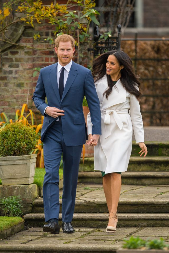 Prince Harry and Meghan Markle in the Sunken Garden at Kensington Palace
