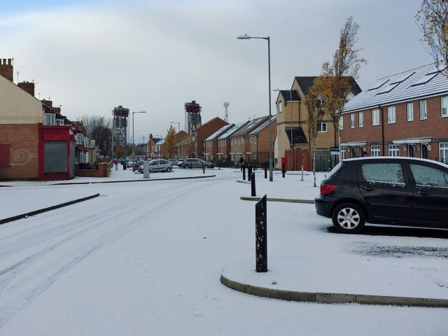 A snowy scene in Middlesbrough