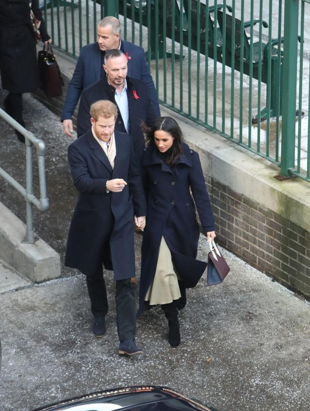 Ms Markle arrived at Nottingham station carrying a handbag (Steve Parsons/PA)
