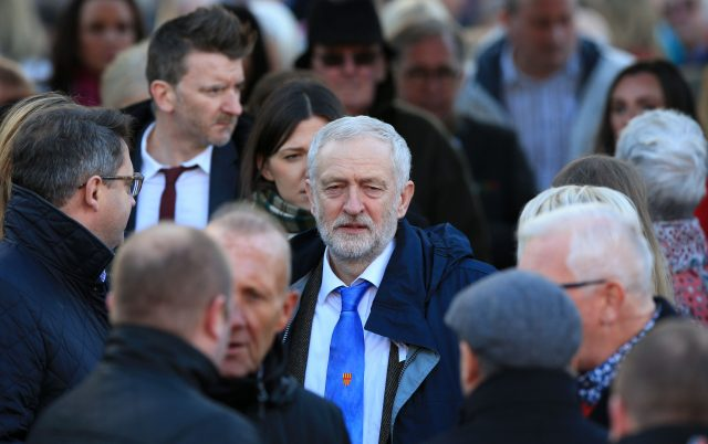 Labour leader Jeremy Corbyn leaves after the funeral (Peter Byrne/PA)
