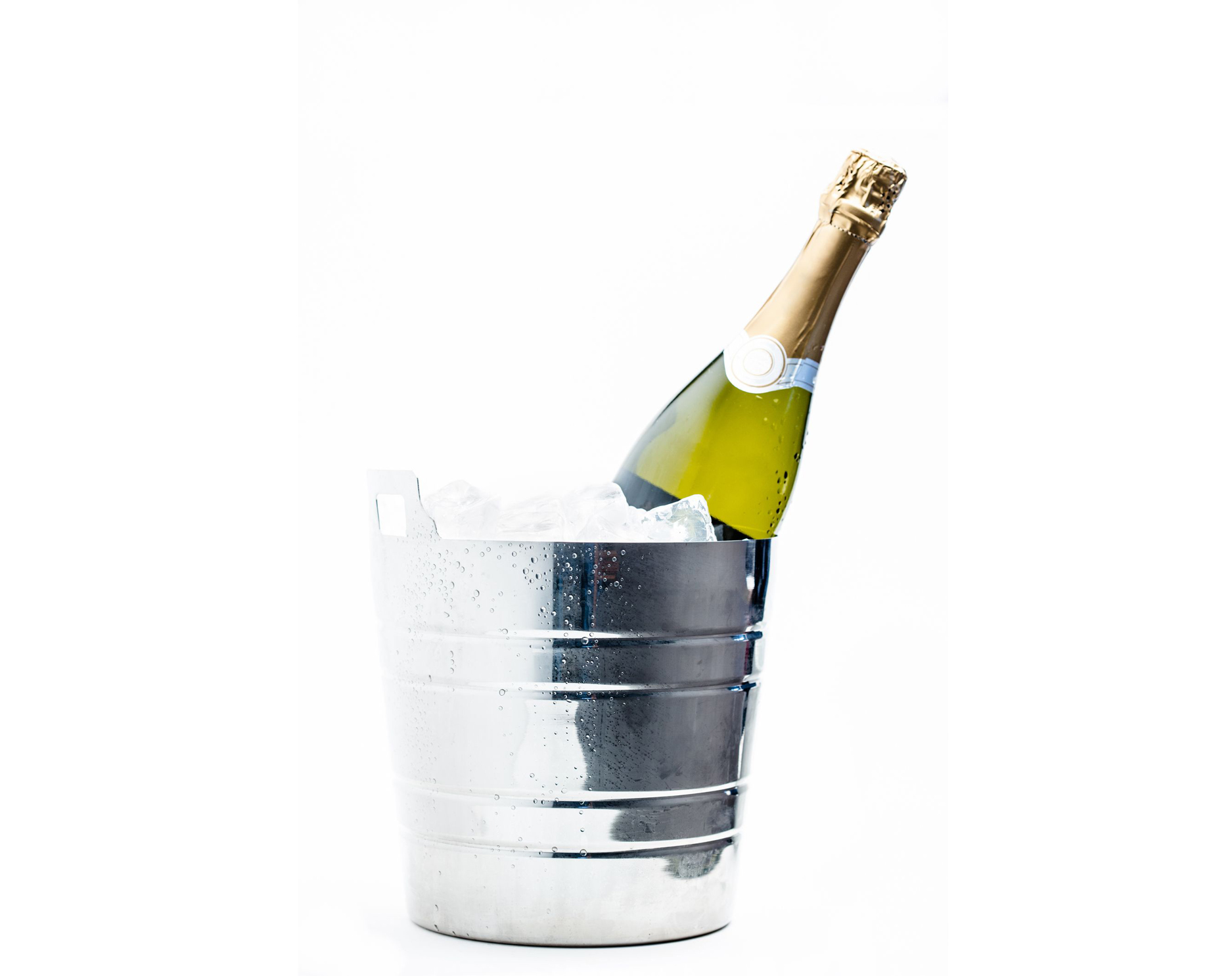 Bottle of wine in ice bucket