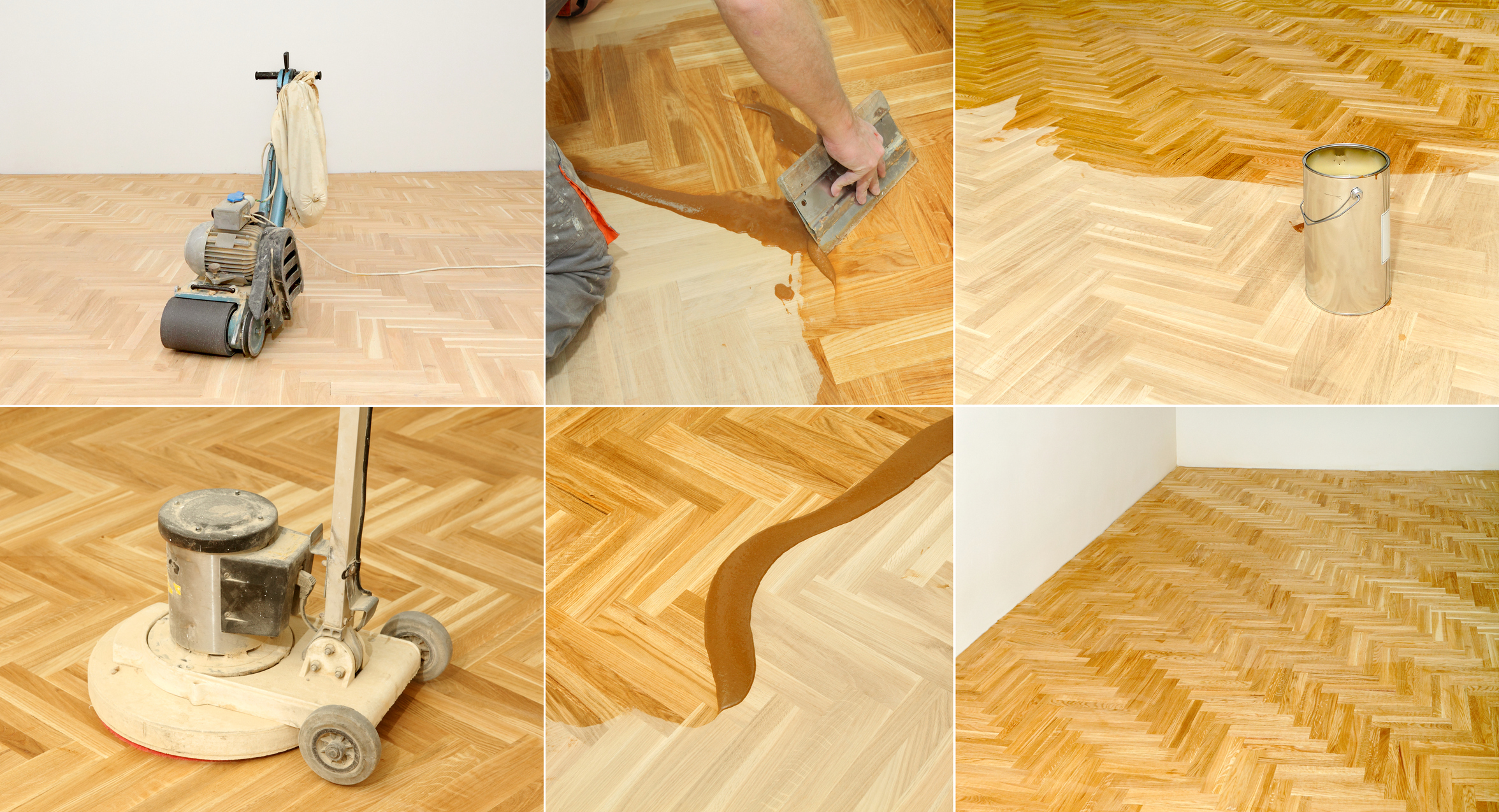 The stages of sanding and varnishing a floor