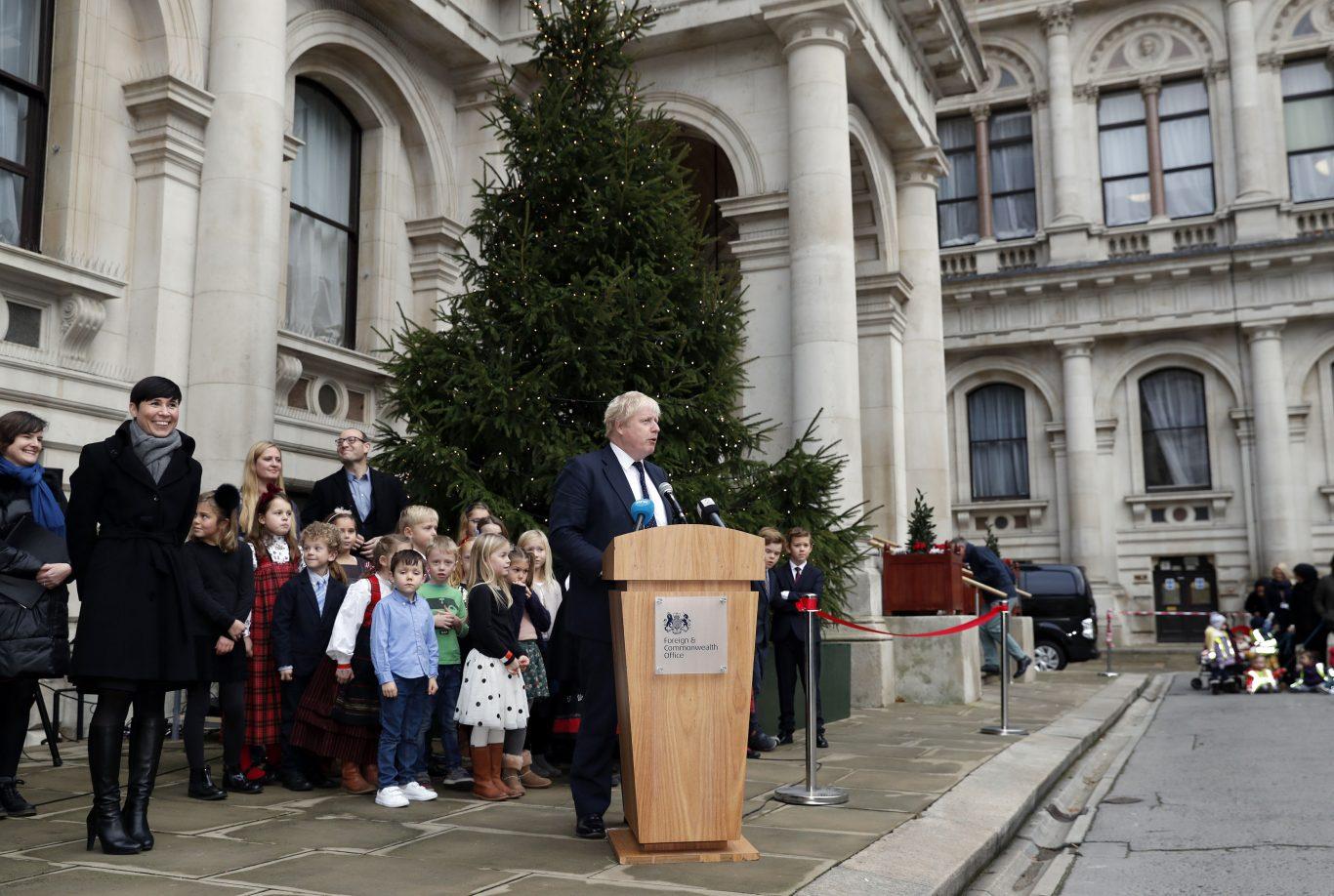 Boris Johnson speaks during the unveiling of the Christmas tree (Adrian Dennis/PA)