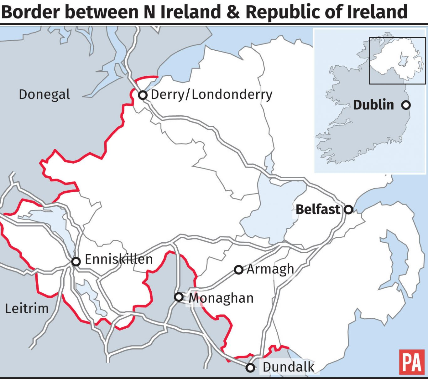 Border between N Ireland and Republic of Ireland